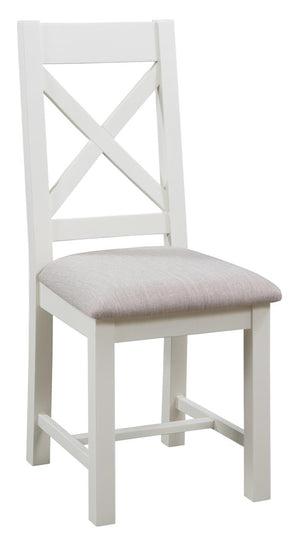 Bicester Painted Cross Back Dining Chair Ivory | A Touch of Furniture