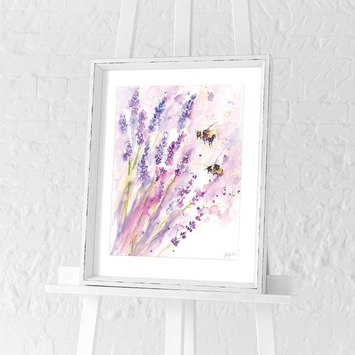 Bees & Lavender by Jennifer Rose | Framed Print