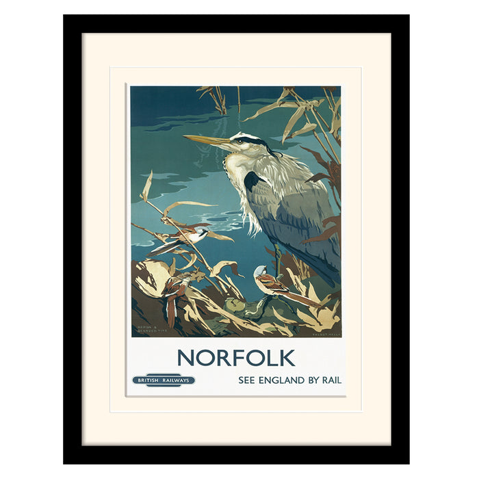 Norfolk Heron and Bearded Tits by Talbot | Framed Print