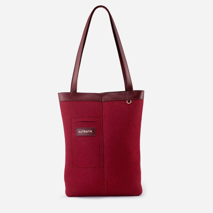 Rhea Burgundy Tote - Kat Faith