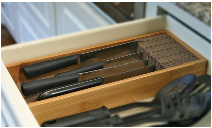 Move Kitchen Knives To The Drawer, Tucking Them Out Of Sight.