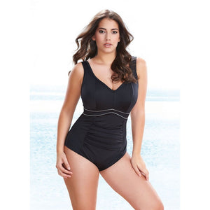 Elomi Swim Essentials Gathered Swimsuit with moulded cups-Bras Galore - Lingerie and Swimwear Specialist