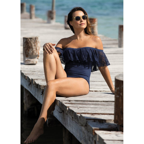 Fantasie Marseille Bardot Swimsuit - Twilight-Bras Galore - Lingerie and Swimwear Specialist