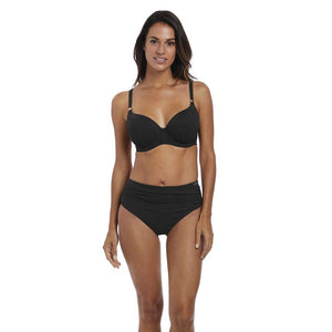 Fantasie Ottawa Deep Gathered Bikini Brief - Black-Bras Galore - Lingerie and Swimwear Specialist