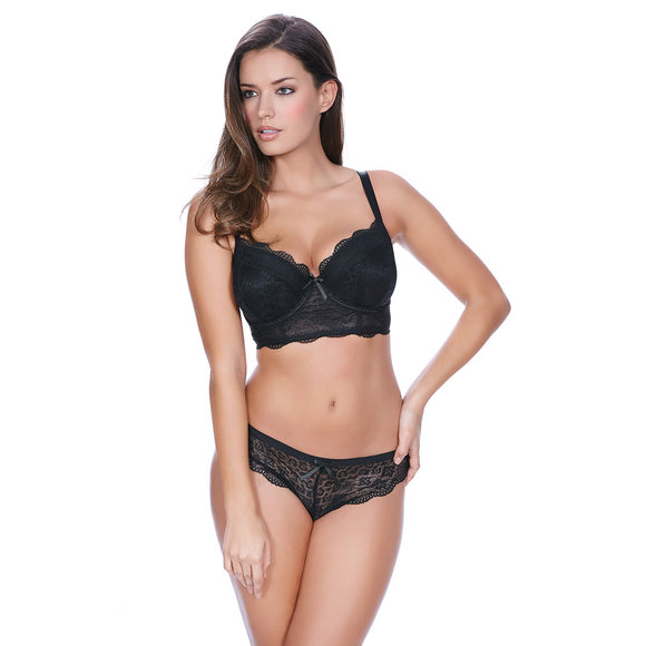 Freya Fancies Padded Longline Bra - Black-Bras Galore - Lingerie and Swimwear Specialist