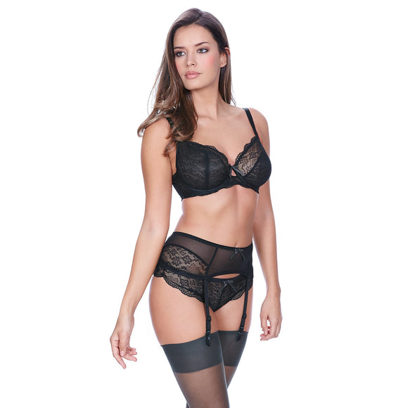 Freya Fancies Suspender Belt - Black-Bras Galore - Lingerie and Swimwear Specialist