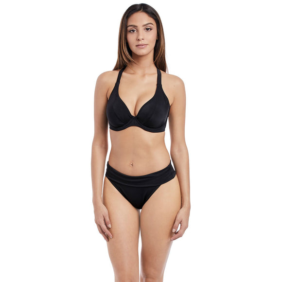 Freya Remix Banded Halter Bikini Top - Black-Bras Galore - Lingerie and Swimwear Specialist
