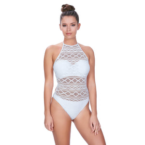 Freya Sundance High Neck Cut Out Swimsuit - White-Bras Galore - Lingerie and Swimwear Specialist