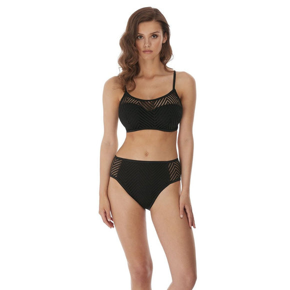 Freya Urban Night High Waist/Leg Bikini Brief - Black-Bras Galore - Lingerie and Swimwear Specialist