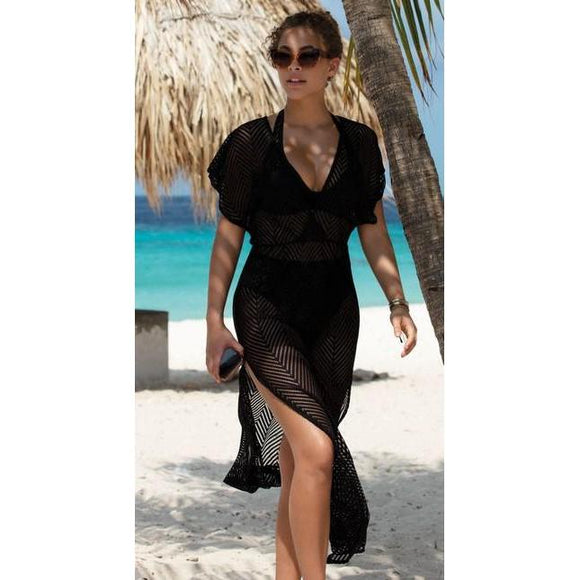 Freya Urban Night Maxi Beach Dress - Black-Bras Galore - Lingerie and Swimwear Specialist