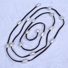 Load image into Gallery viewer, Stylish Natural Freshwater Pearls set on a Leather Rope Necklace