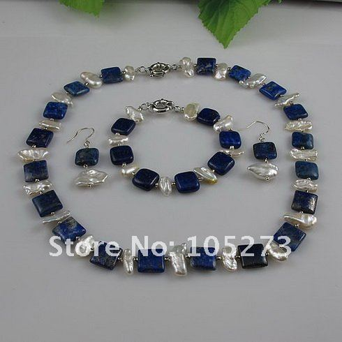 Stunning 3 pc-set Jewelry made of AA Blue Lapis Stones & Genuine Freshwater Baroque Pearls