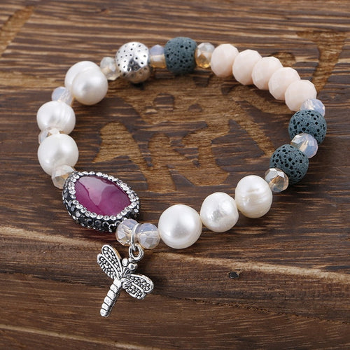 Natural Freshwater Pearls Charm Bracelet with Agate