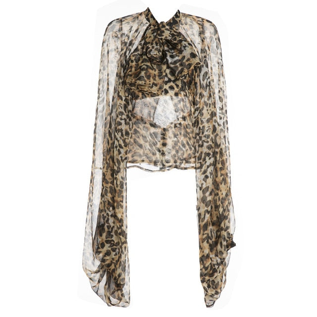 Leopard-print Chiffon Oversized Sleeves Blouse