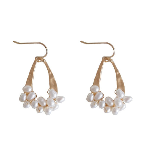Modern Geometric Natural Freshwater Pearl Dangle Earrings