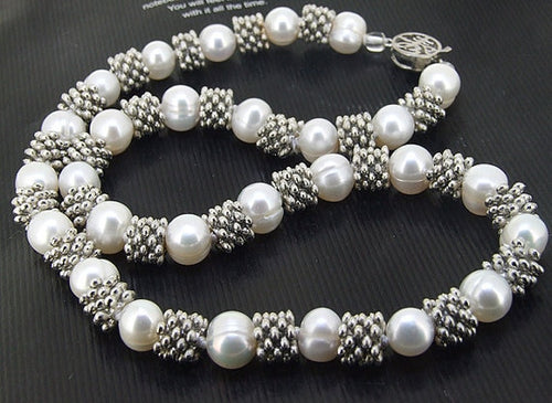 Elegant Single Strand Silver and Freshwater Pearls Necklace