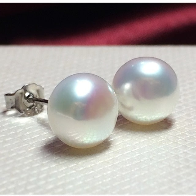 100% Genuine Freshwater Pearl Stud Earrings for Everyday Elegance