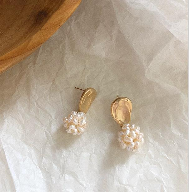Contemporary Natural Freshwater Pearls Cluster Earrings