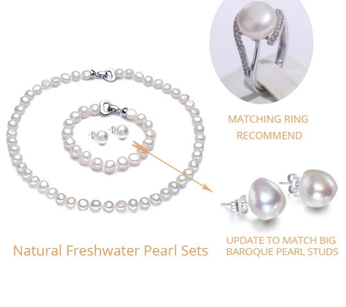 Freshwater Pearl Jewelry Set (Necklace Bracelet Earrings)