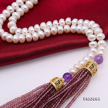Load image into Gallery viewer, Ultimately Decadent and Graceful Tasseled  Cultured Freshwater Pearl Necklace