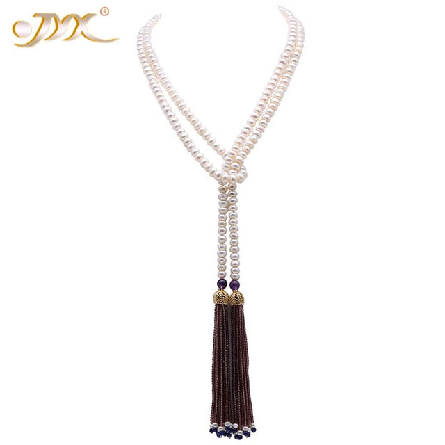 Ultimately Decadent and Graceful Tasseled  Cultured Freshwater Pearl Necklace