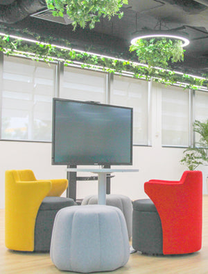 Set of soft seating in office breakout area