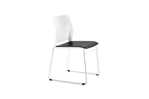 Alpha Office Pantry Chair in Black and White with 2 Legged Frame