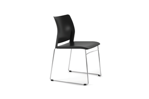 Alpha Office Pantry Chair in Black with 2 Legged Frame