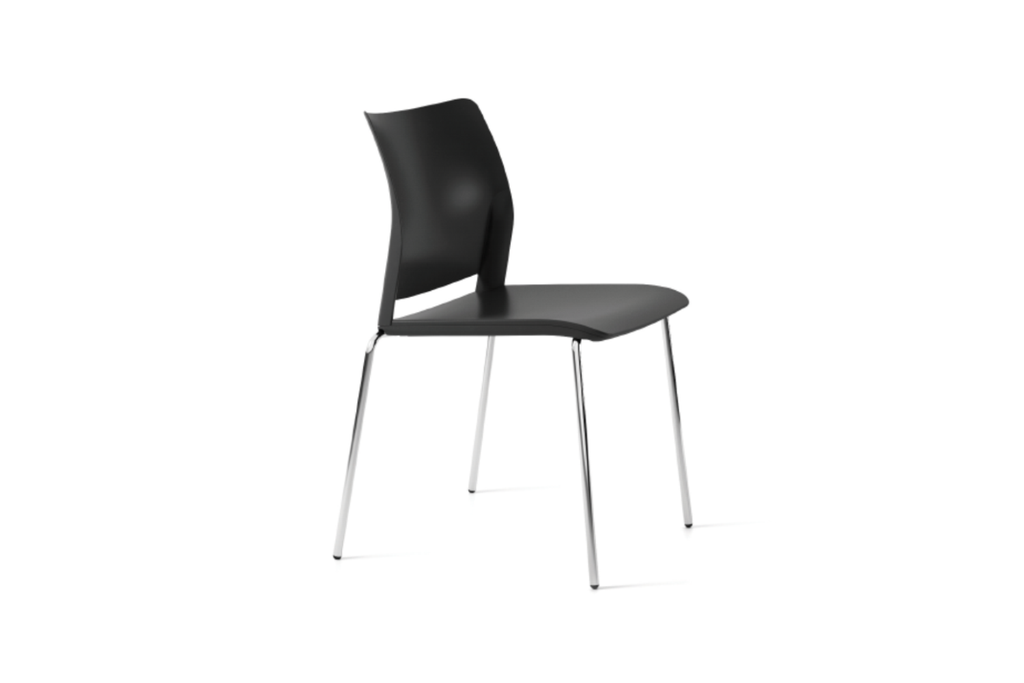 Alpha Office Pantry Chair in Black with 4 Chrome Legs