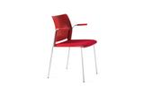 Alpha Office Pantry Chair in Red with Armrests