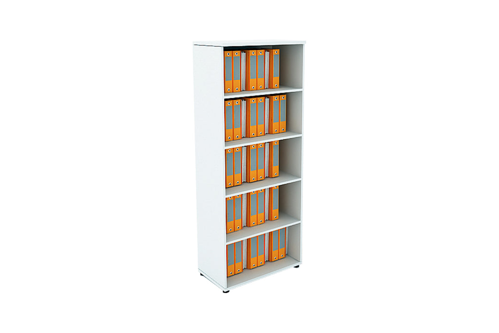 Benchwork Office Wooden Cabinet Open Shelf Full Height in White Finishing
