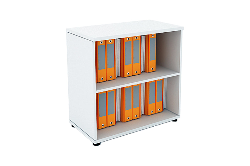 Benchwork Office Wooden Cabinet Open Shelf Low Height in White Finishing