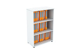 Benchwork Office Wooden Cabinet Open Shelf Mid Height in White Finishing
