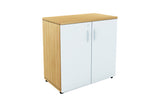 Benchwork Office Wooden Cabinet with Door Low Height in England Oak and White Finishing