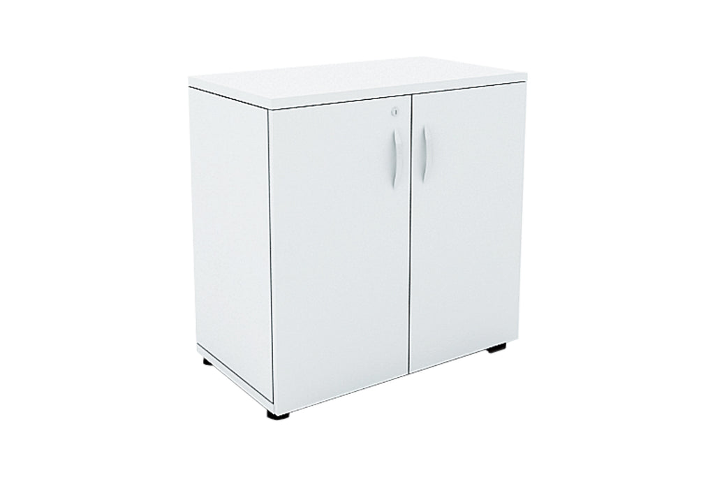 Benchwork Office Wooden Cabinet with Door Low Height in White Finishing
