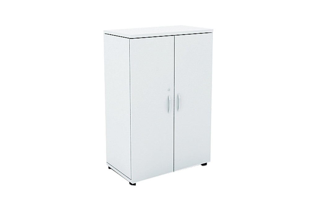 Benchwork Office Wooden Cabinet with Door Mid Height in White Finishing