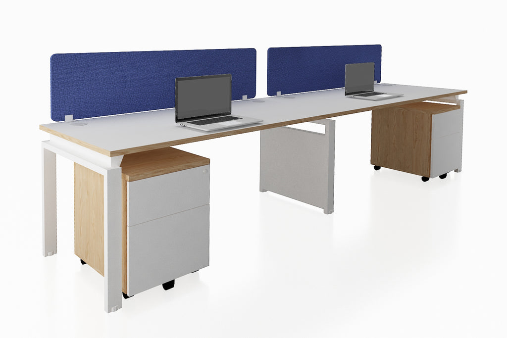 Benchwork Office Workstation Desk System Cluster of 2 Single Row with Fabric Divider and Mobile Pedestal with England Oak Finishing