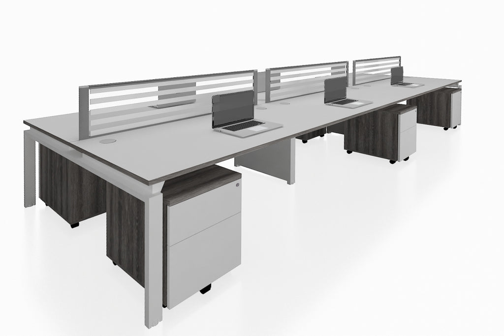 Benchwork Office Workstation Desk System Cluster of 6 with Glass Desktop Screen and Mobile Pedestal with Costa Grey Finishing