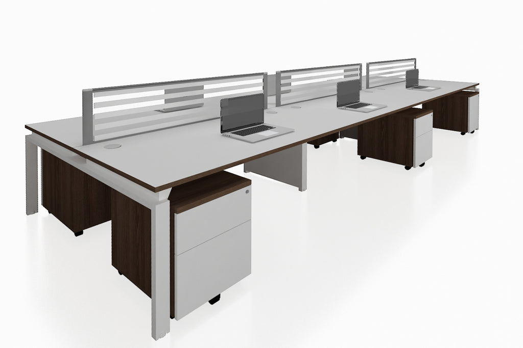 Benchwork Office Workstation Desk System Cluster of 6 with Glass Desktop Screen and Mobile Pedestal with Radiwood Finishing