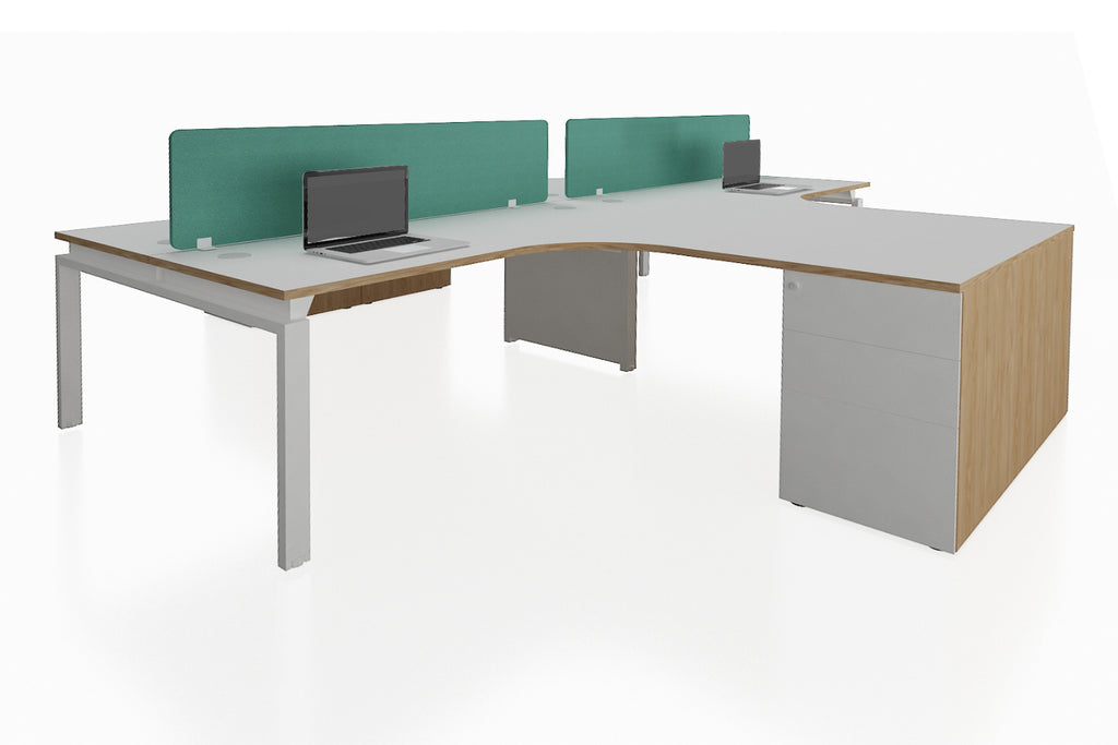 Benchwork Office Workstation Desk System Universal Cluster of 4 with Fabric Divider and Fixed Pedestal with England Oak Finishing