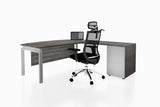 Benchwork Office Workstation Executive Table Desk with Fixed Pedestal and Costa Grey Finishing Back Angled View