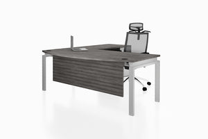 Benchwork Office Workstation Executive Table Desk with Fixed Pedestal and Costa Grey Finishing Front Angled View