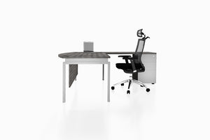 Benchwork Office Workstation Executive Table Desk with Fixed Pedestal and Costa Grey Finishing Side View
