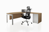 Benchwork Office Workstation Executive Table Desk with Fixed Pedestal and England Oak Finishing Back Angled View