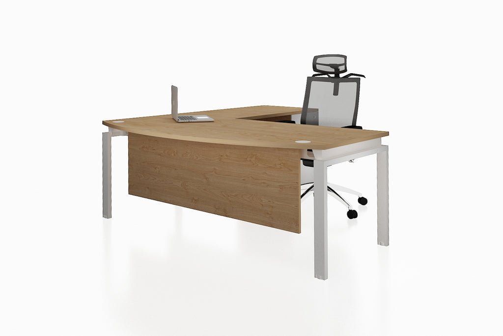 Benchwork Office Workstation Executive Table Desk with Fixed Pedestal and England Oak Finishing Front Angled View