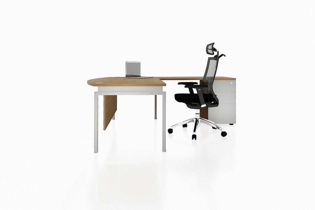 Benchwork Office Workstation Executive Table Desk with Fixed Pedestal and England Oak Finishing Side View