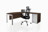 Benchwork Office Workstation Executive Table Desk with Fixed Pedestal and Radiwood Finishing Back Angled View
