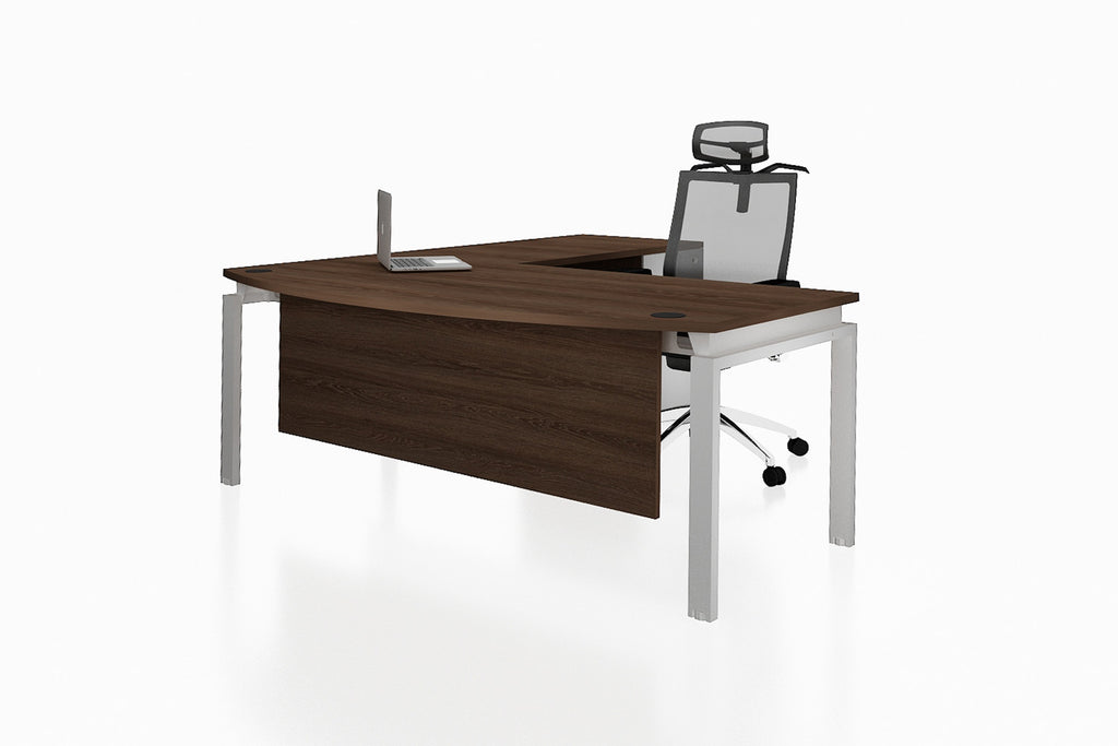 Benchwork Office Workstation Executive Table Desk with Fixed Pedestal and Radiwood Finishing Front Angled View