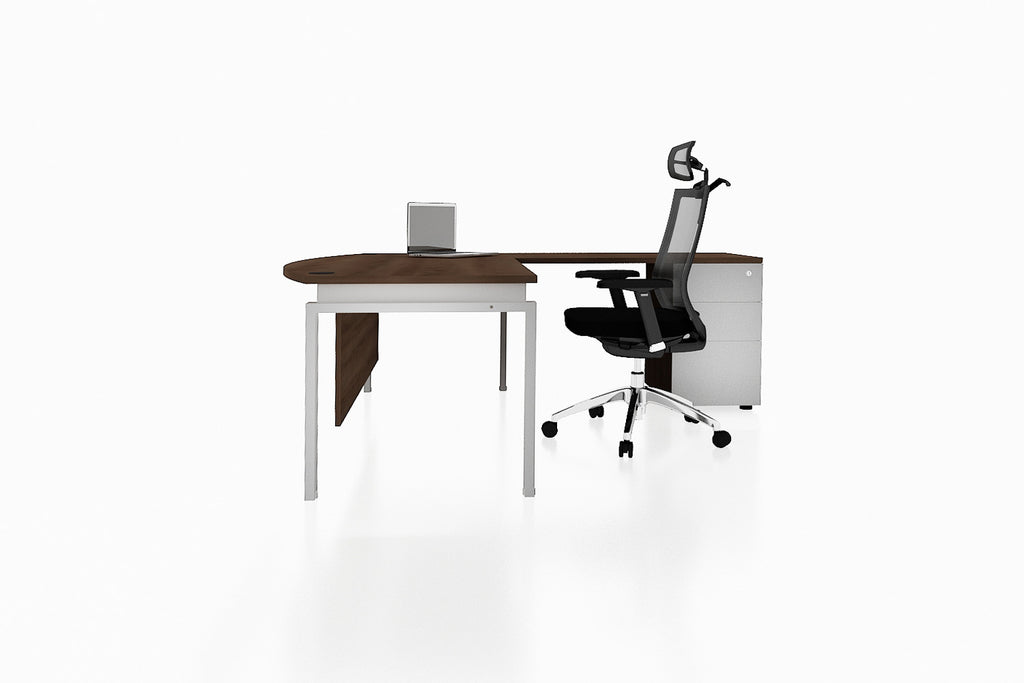 Benchwork Office Workstation Executive Table Desk with Fixed Pedestal and Radiwood Finishing Side View