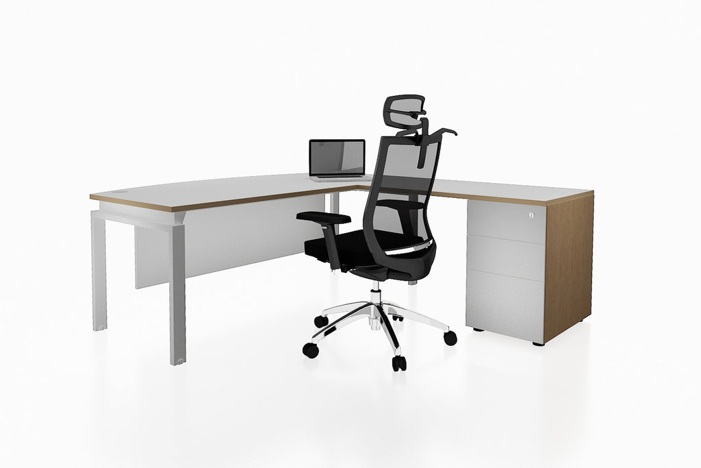 Benchwork Office Workstation Executive Table Desk with Fixed Pedestaland White Finishing Back Angled View